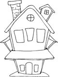 Doodle style fairy house. Doodle fairy House cartoon. Can be used for coloring book page design Stock Photos