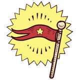 Flag or pennant sketch vector illustration