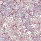 Doodle style flowers seamless pattern. Floral textile background. Fashionable doodle print Royalty Free Stock Images