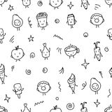 Doodle style food seamless pattern Royalty Free Stock Images