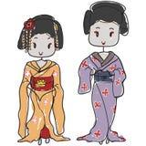 Doodle style geisha Stock Image