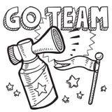 Go team sports air horn sketch vector illustration