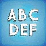 Doodle Style Hand Drawn Font A-F. Doodle Style Vector Hand Drawn Alphabet A-F Royalty Free Stock Photo