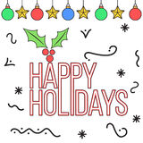 Doodle style happy holidays card. Design Stock Photos