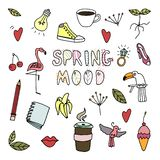 Hand drawing. Spring mood. Human and nature . Vector objects set. vector illustration
