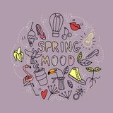 Spring mood. Human and nature . royalty free illustration