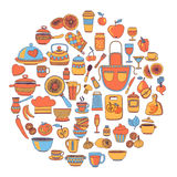 Doodle style kitchenware Hand drawn elements Stock Photography