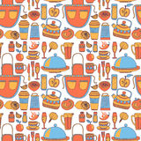 Doodle style kitchenware seamless pattern Royalty Free Stock Photos