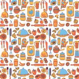 Doodle style kitchenware seamless pattern Royalty Free Stock Image