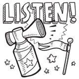 Listen announcement sketch stock illustration