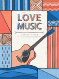 Doodle style love music poster Royalty Free Stock Images