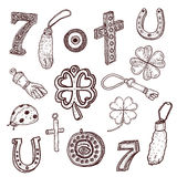 Doodle style luck symbols Royalty Free Stock Image