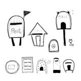 Doodle style mailbox and post box Royalty Free Stock Photography