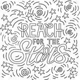 Reach for the stars. Hand drawn typography poster. Doodle style motivational poster with hand drawn letters for t-shirt, nursery, kids apparel printable print Vector Illustration
