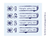 Doodle style number options banner. Royalty Free Stock Photography