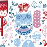 Doodle style Ornamental hand drawn winter owl Vector illustration royalty free illustration