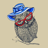 Doodle style owl in summer blue stripped hat and red eyeglasses. Royalty Free Stock Images