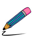 Doodle style, pencils and black streak Royalty Free Stock Images