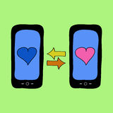 Doodle style phones with love talk Royalty Free Stock Photography