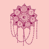 Doodle style pink line art lotus with yoga chakras pictogram. Royalty Free Stock Photo