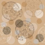 Doodle style pizza  seamless vector background Stock Image