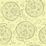 Doodle style pizza  seamless vector background Royalty Free Stock Photography