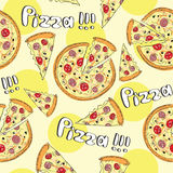 Doodle style pizza  seamless vector background Stock Photos
