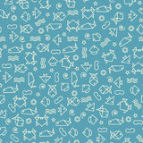 Doodle style seamless pattern with fish and other nature element Royalty Free Stock Photography