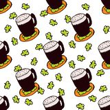 Doodle Style Seamless Pattern for Saint Patrick's. Day. Irish dark beer Stock Images