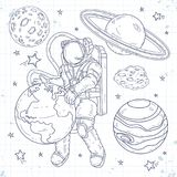 Doodle style set cosmos, astronaut hugging planet earth, star system with planets, asteroids and stars. Vector illustration, sketch icons, set cosmos, astronaut Royalty Free Stock Photography
