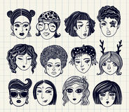 Doodle style set of diverse female faces. Royalty Free Stock Photography