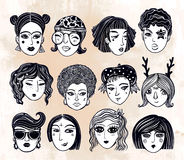 Doodle style set of diverse female faces. Royalty Free Stock Image