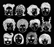 Doodle style set of diverse female faces. Royalty Free Stock Photo
