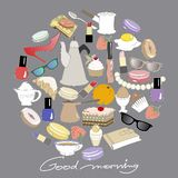 Doodle style set with morning and breakfast objects. Colorful vector illustration on dack backgraund. royalty free illustration