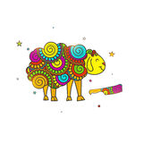Doodle style Sheep and Knife for Eid-Al-Adha. Royalty Free Stock Photography