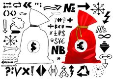 Doodle style sketch of a bag full of money finance and business. Vector illustration. Handwritten arrows, lines and signs isolated. On white background. Set of Stock Photos