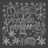 Doodle style sketch . Morning espresso lettering cup of coffee singing rooster alarm royalty free illustration
