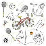Doodle style sketch . Sport activity Bike , roller skates , scooter , skateboard , balls , tennis rackets , rope stock illustration