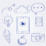 Doodle style technology equipment Royalty Free Stock Photo