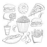 Doodle style various fast foods collection. Food icon set. Cheeseburger. donut, pizza, popcorn, fries, chips, soda, hot dog stock illustration