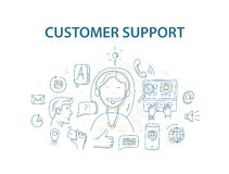 Doodle style vector illustration concept for customer support service Royalty Free Stock Photos