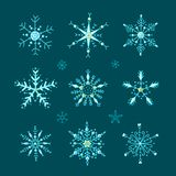 Doodle style vector snowflakes set royalty free stock images
