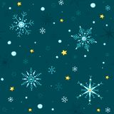 Doodle style vector snowflakes and stars seamless background stock illustration