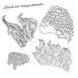 Doodle style waves sketches Royalty Free Stock Image