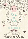Doodle Style Wedding Invitation with Love Birds and Monogram Stock Images