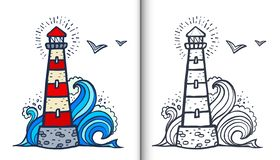 Doodle style white and red lighthouse vector coloring book illustration with colored sample and clear version isolated Vector Illustration