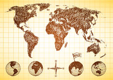 Doodle style world map with 4 globes Stock Photo