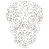 Doodle stylized black and white sugar skull, hand drawing Royalty Free Stock Photography