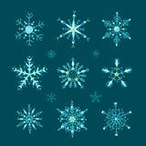 Doodle stylowi wektorowi płatek śniegu ustawiający ilustracji