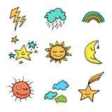 Doodle stylu pogody ikony ustawiać Zdjęcia Royalty Free